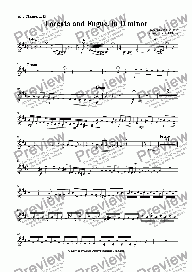 page one of the 4. Alto Clarintet in Eb part from Toccata and Fugue in D Minor