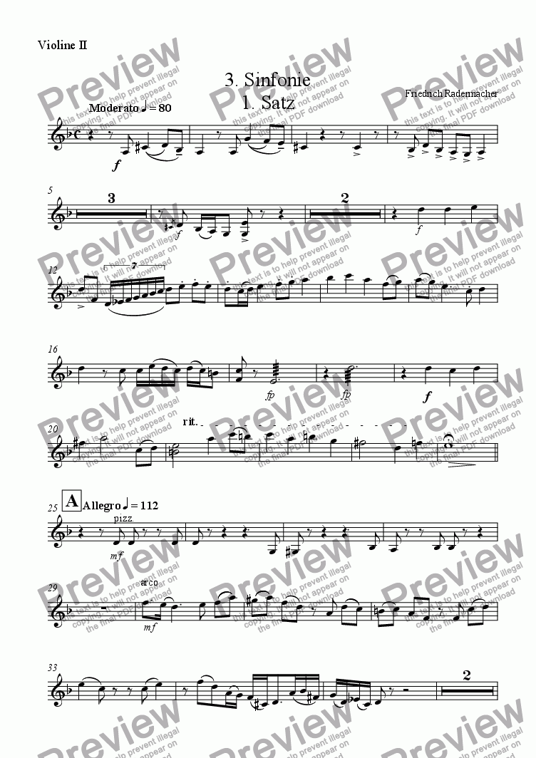 page one of the Violine 2 part from 3. Sinfonie