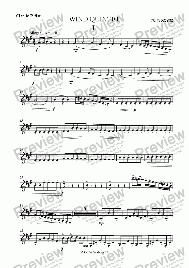 page one of the Clarinet part from Wind Quintet