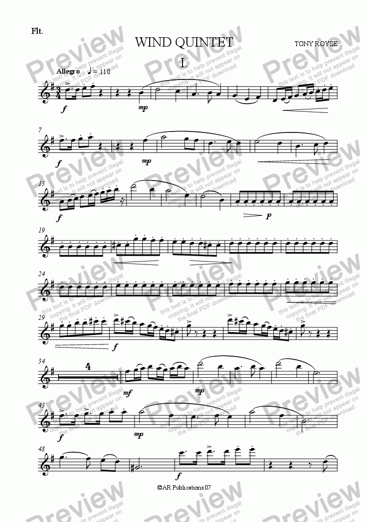 page one of the Flute part from Wind Quintet