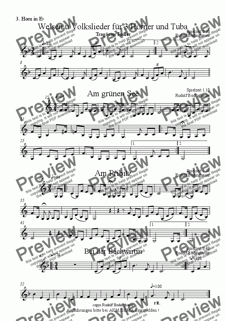 page one of the 3. Horn in Es part from Weisen u.Volkslieder f�r 3 H�rner u.Tuba