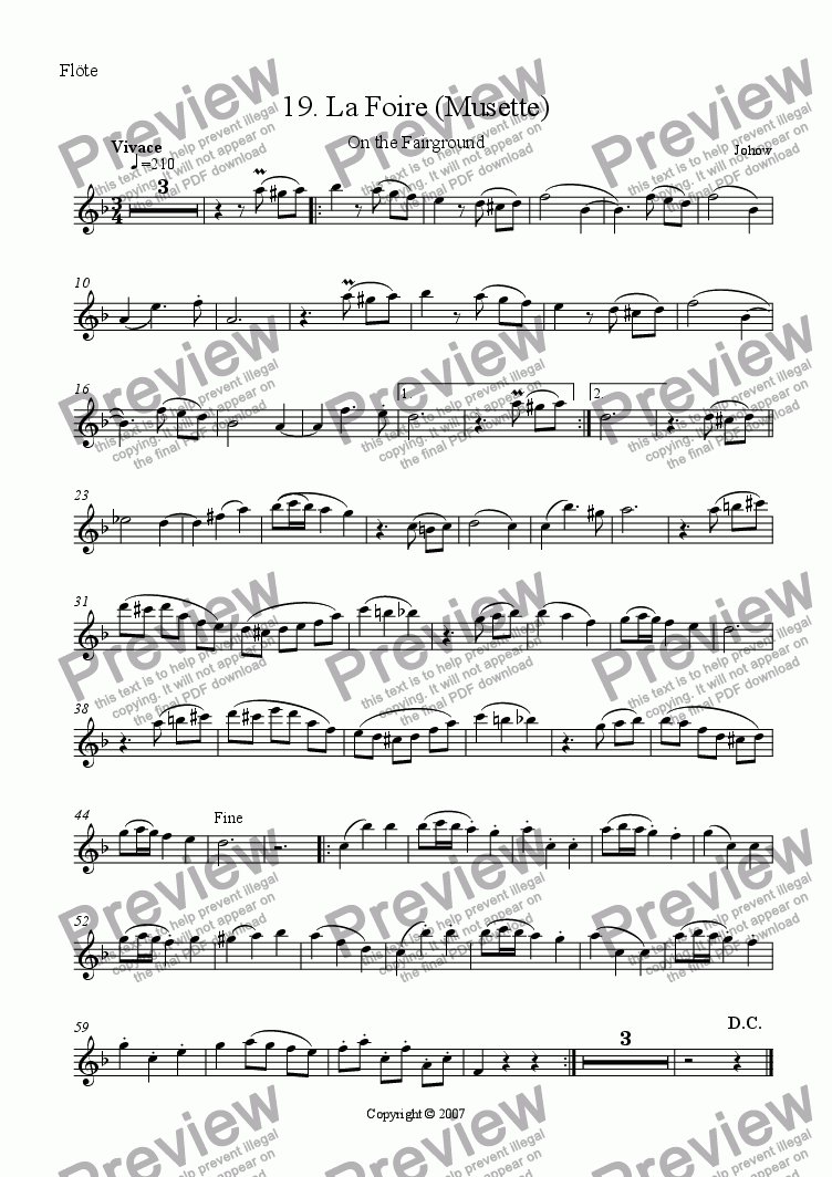 page one of the Fl part from Flute book 19 (La Foire - Musette)