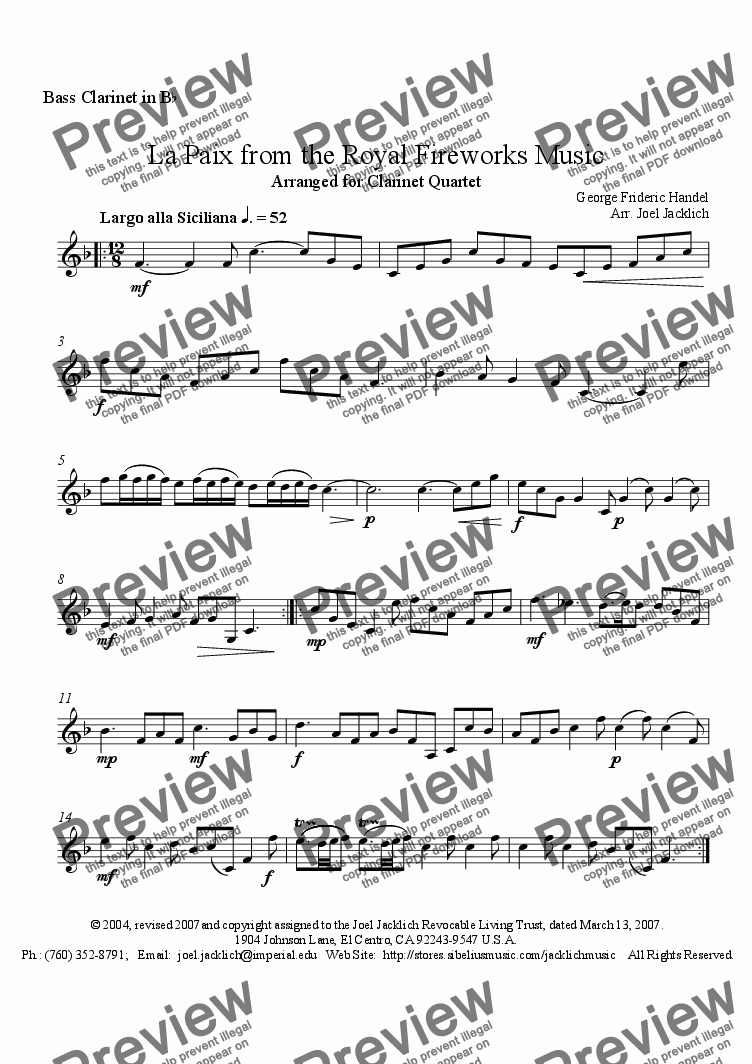 page one of the Bass Clarinet in Bb part from Royal Fireworks Music, La Paix (Clarinet Quartet)