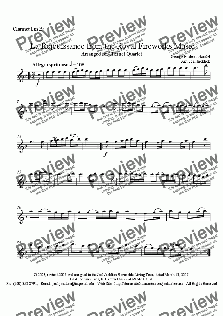page one of the Clarinet I in Bb part from Royal Fireworks Music, La Rejouissance (Clarinet Quartet)