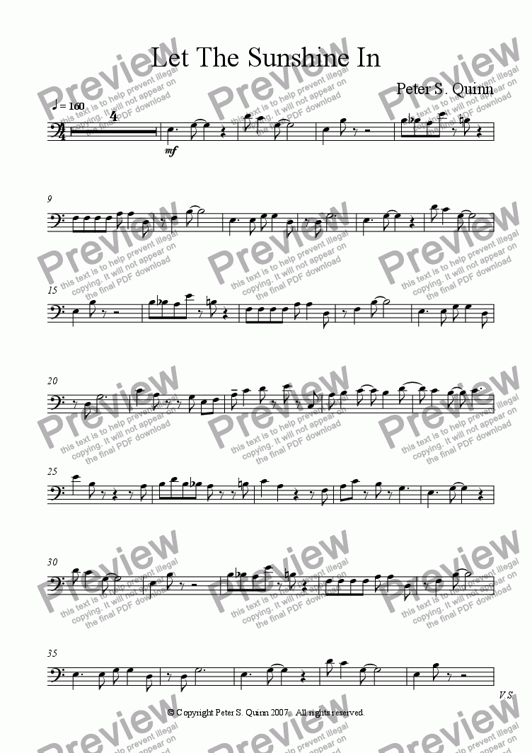 page one of the Piano part from Let The Sunshine In