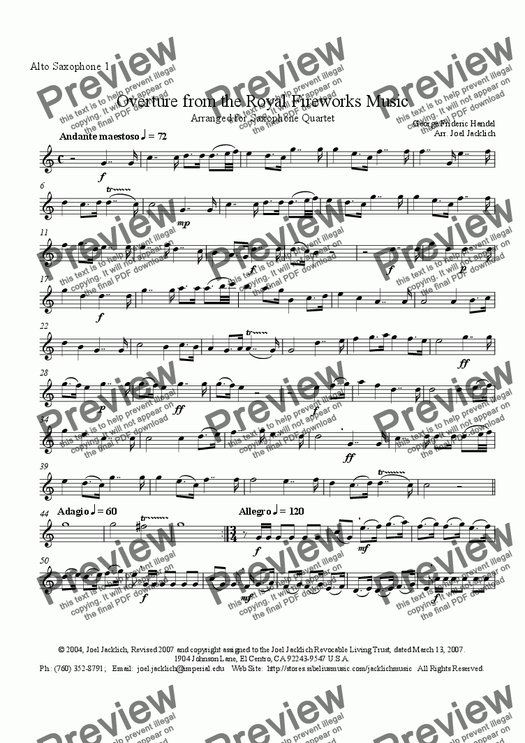 page one of the Alto Sax 1 part from Royal Fireworks Music, Overture (Saxophone Quartet, AATB)