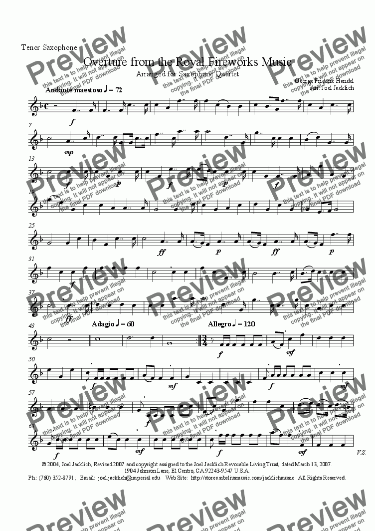 page one of the Tenor Sax part from Royal Fireworks Music, Overture (Saxophone Quartet, AATB)