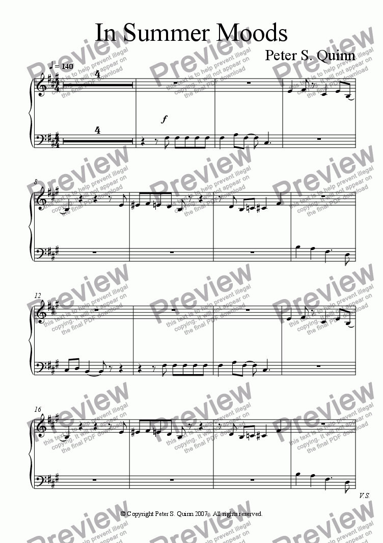 page one of the Piano part from In Summer Moods
