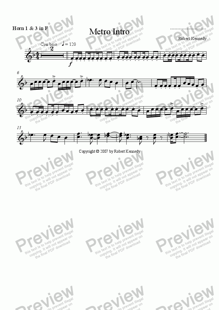 page one of the F Horn 1 & 3 part from Metro Intro (Fanfare)