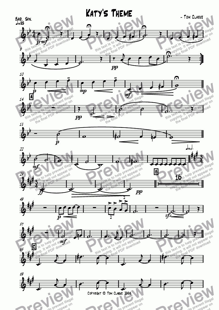 page one of the Baritone Saxophone part from Katy's Theme