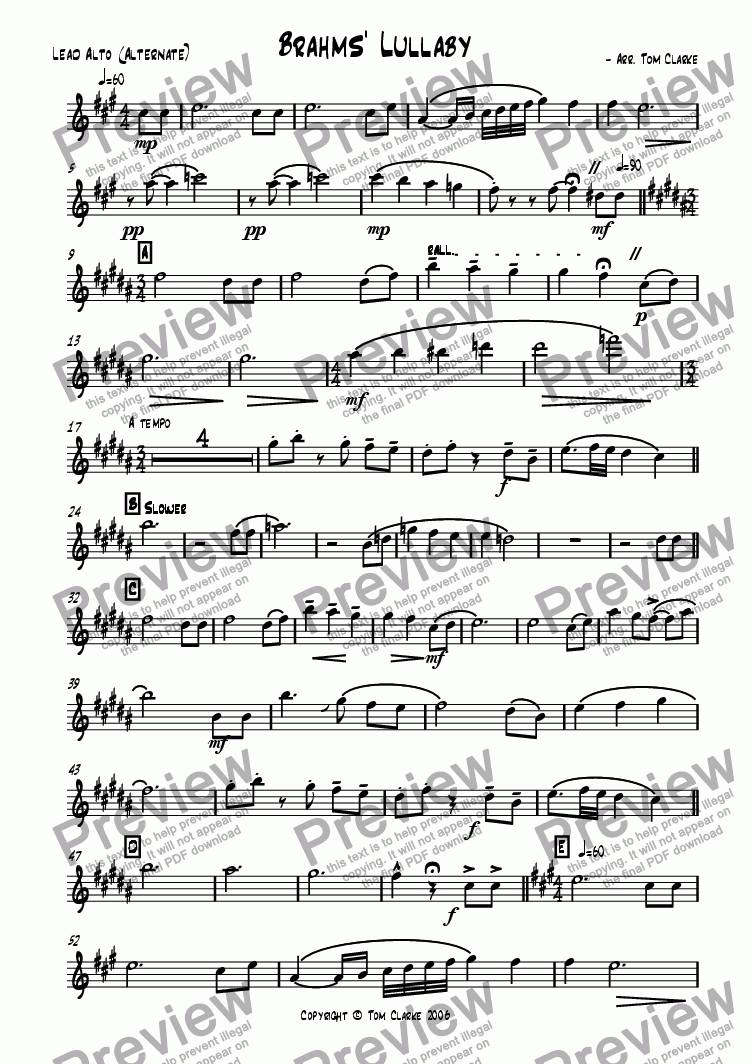page one of the Lead Alto (Alternate) part from Brahms' Lullaby