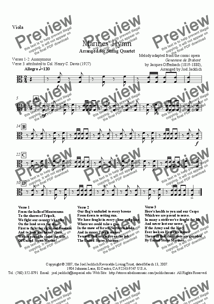 page one of the Viola part from The Marines' Hymn (From the Halls of Montezuma)