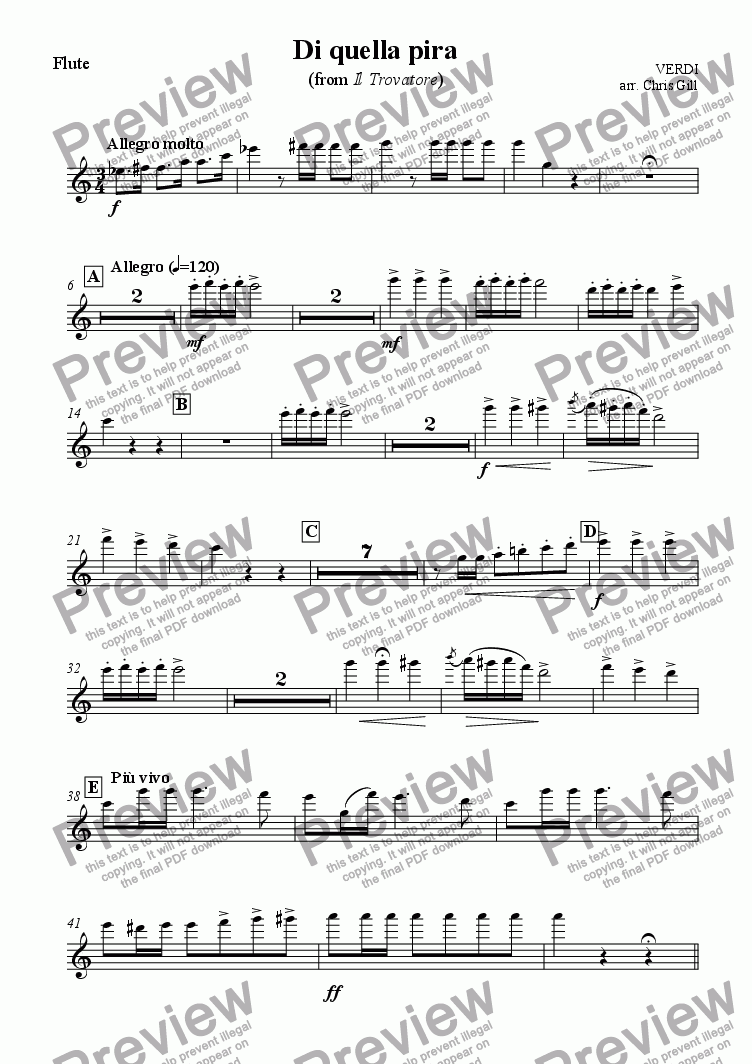 page one of the Flute part from Di quella pira (from Il Trovatore) arranged for tenor, male chorus and small orchestra