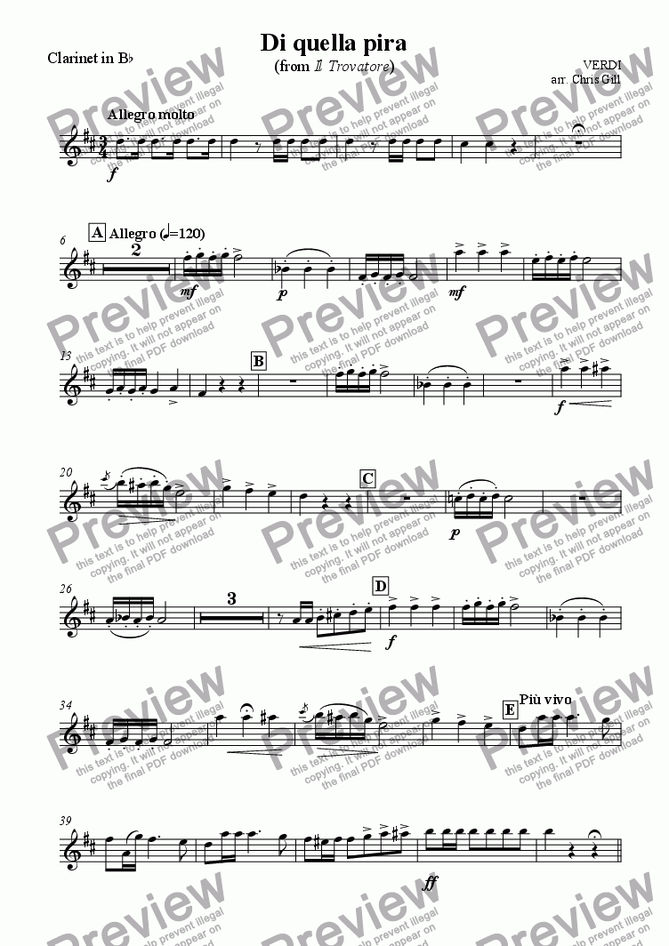 page one of the Clarinet in Bb part from Di quella pira (from Il Trovatore) arranged for tenor, male chorus and small orchestra