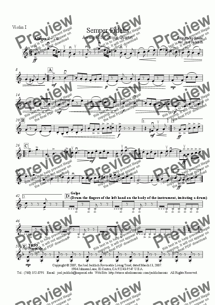page one of the Violin I part from Semper Fidelis