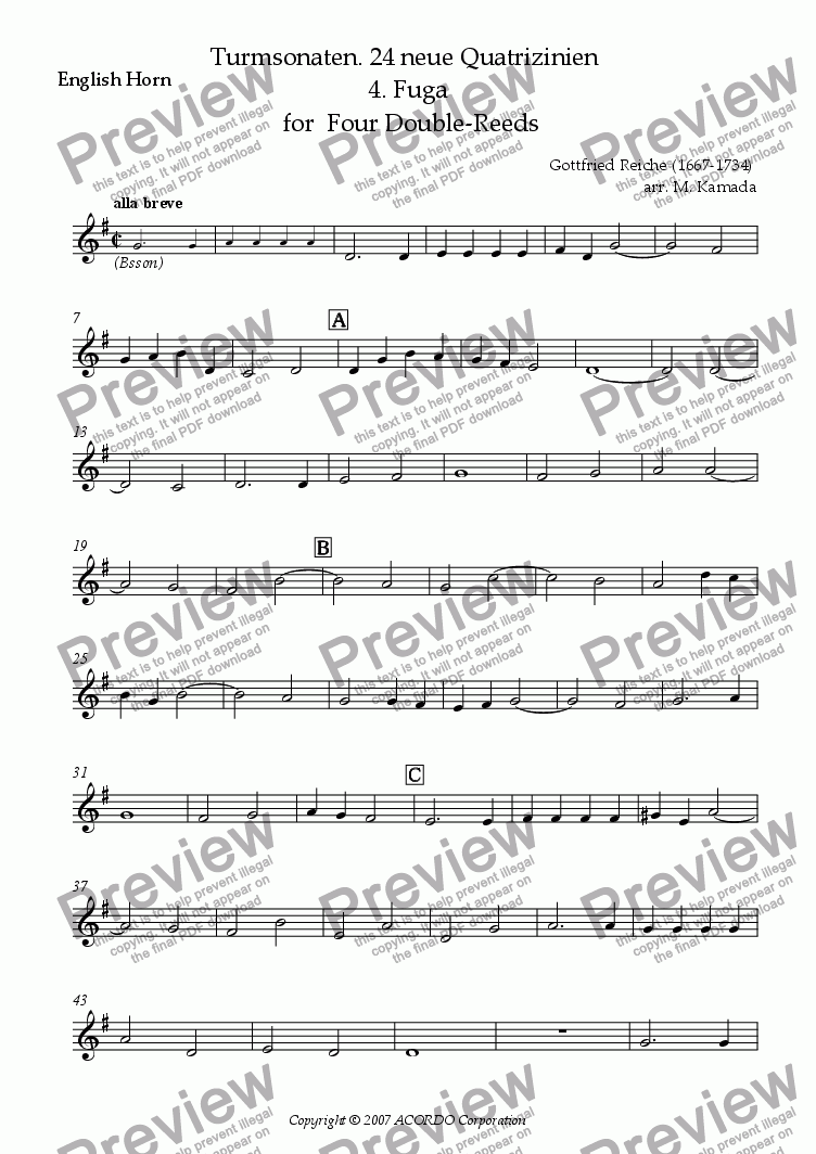 page one of the English Horn part from Turmsonaten. 24 neue Quatrizinien 4. Fuga for Four Double-Reeds