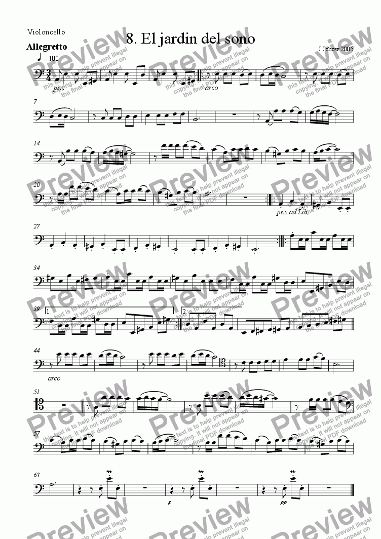 page one of the Vlc part from Cello Book 08 (El Jardin del Sono)