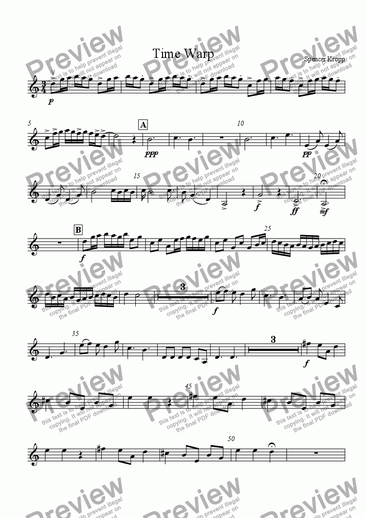 page one of the Violin 1 part from Time Warp