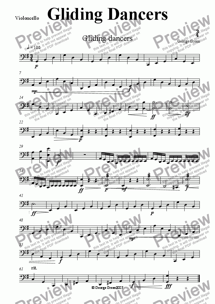 page one of the Violoncello part from Gliding Dancers
