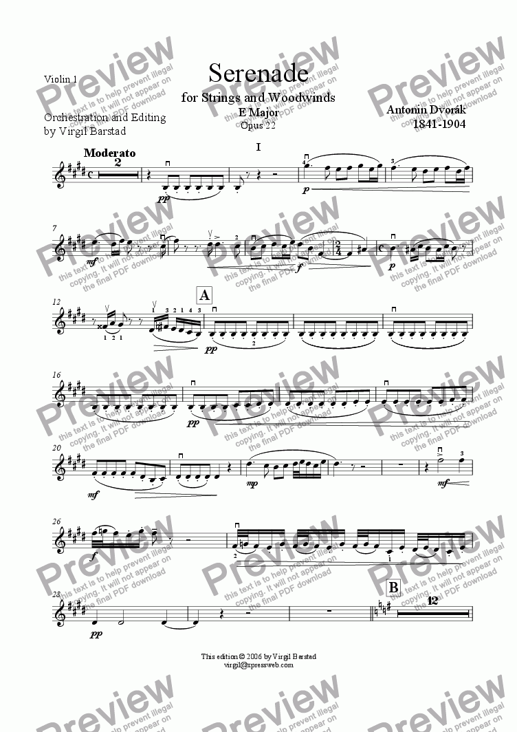 page one of the Violin 1 part from Serenade for Strings and Winds Op 22 - 1