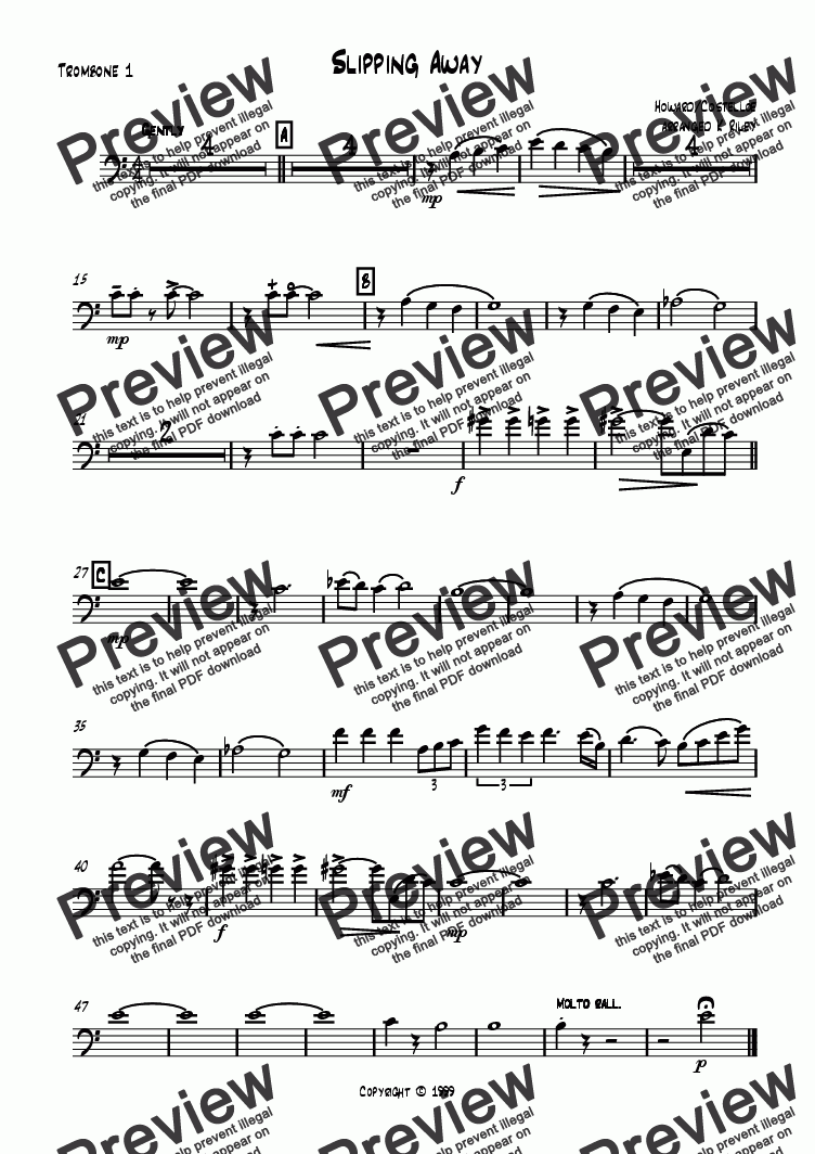 page one of the Trombone 1 part from Slippin' Away