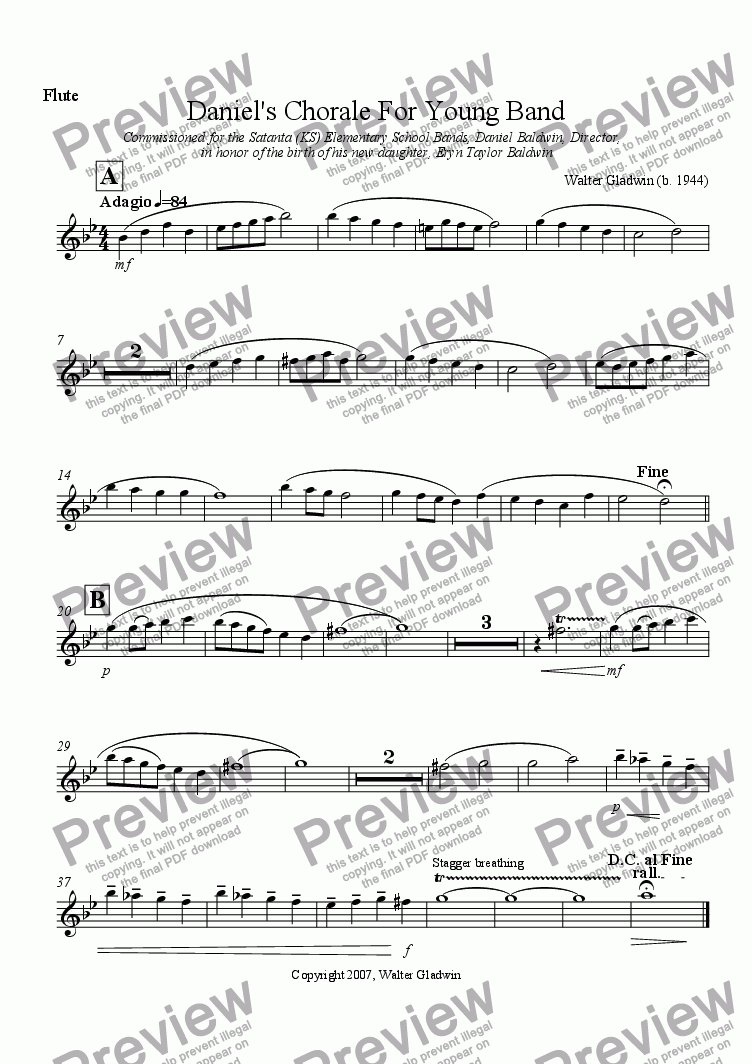 page one of the Flute part from Daniel's Chorale For Young Band