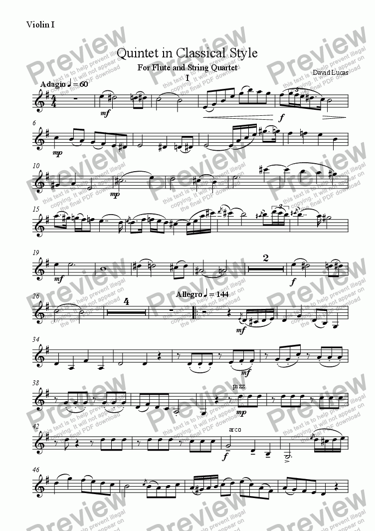page one of the Violin 1 part from Quintet in Classical Style for Flute and String Quartet 1st Movement