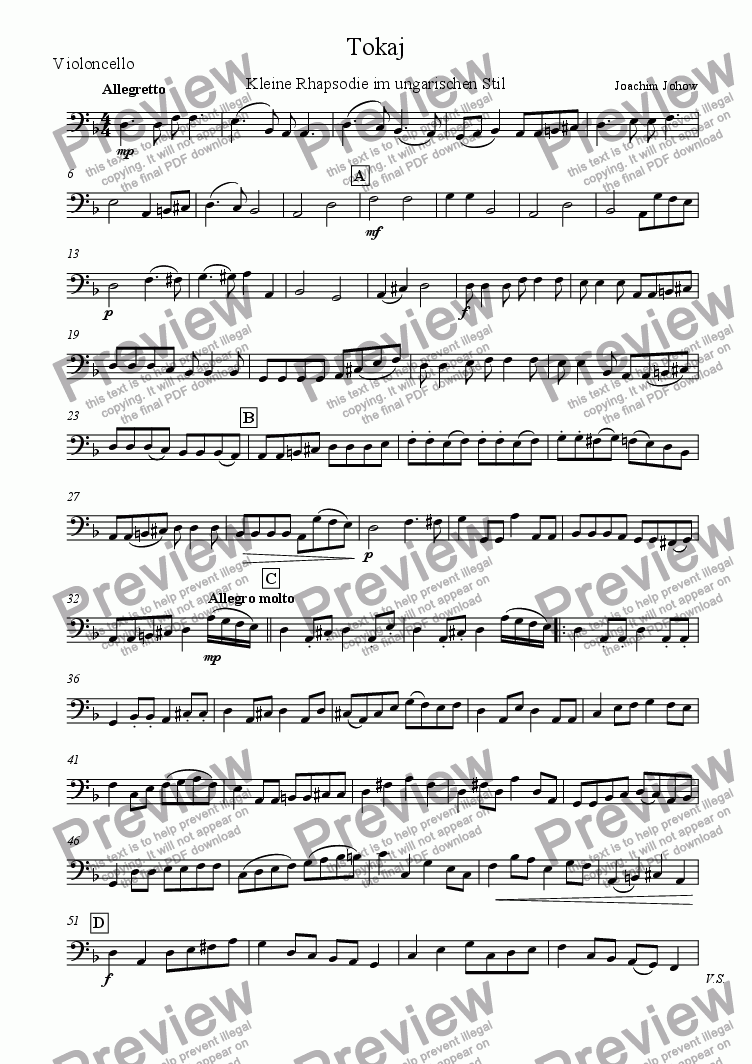 page one of the Vlc part from Tokaj (Strings and Piano)