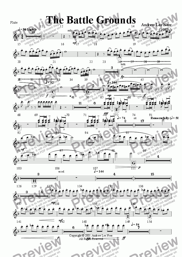 page one of the Flute part from The Battle Grounds