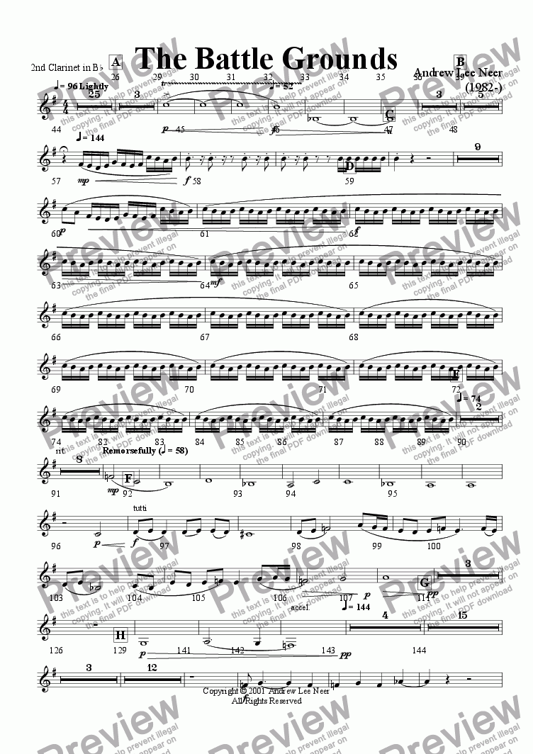 page one of the Clarinet in Bb 2 part from The Battle Grounds