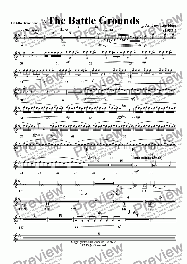 page one of the Alto Saxophone 1 part from The Battle Grounds