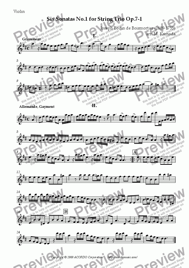 page one of the Violin part from Six Sonatas No.1 for String Trio Op.7-1