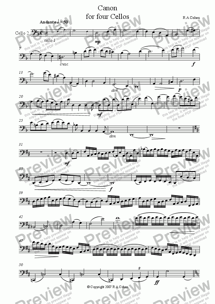 page one of the Cello 2 part from CANON - for cello quartet