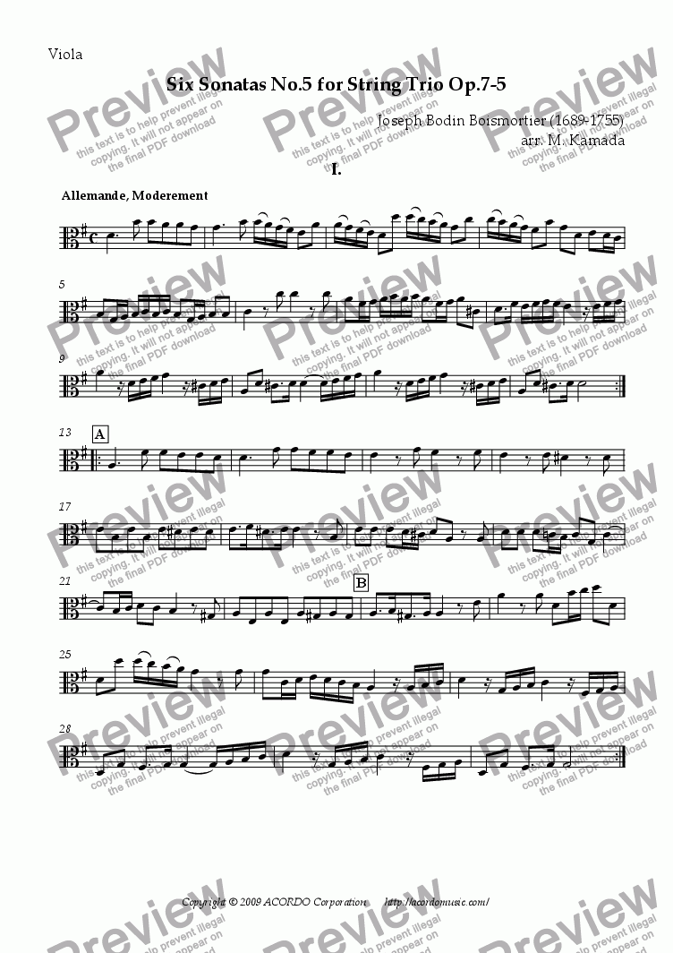 page one of the Viola part from Six Sonatas No.5 for String Trio Op.7-5