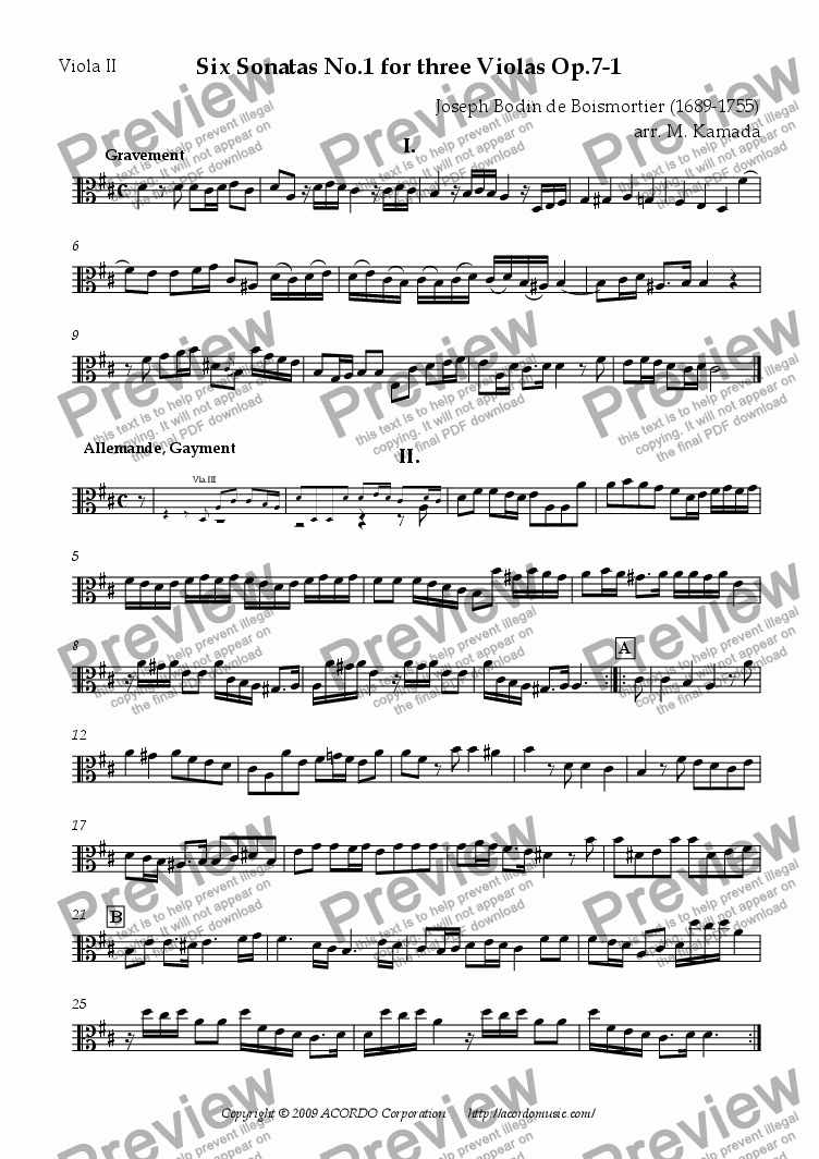 page one of the Viola II part from Six Sonatas No.1 for three Violas Op.7-1