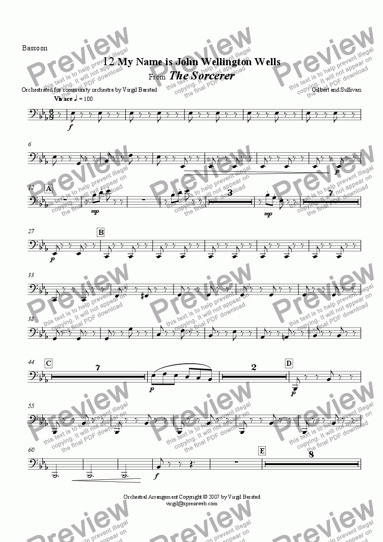 page one of the Bassoon part from My Name is John Wellington Wells, from The Sorcerer