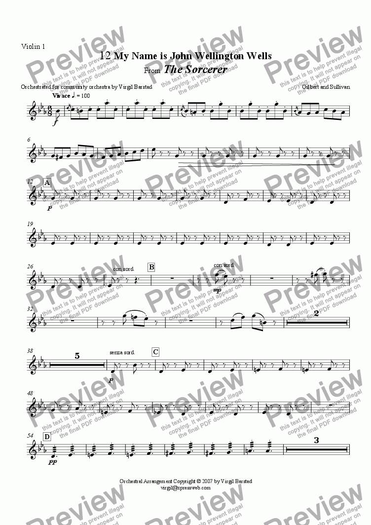page one of the Violin 1 part from My Name is John Wellington Wells, from The Sorcerer