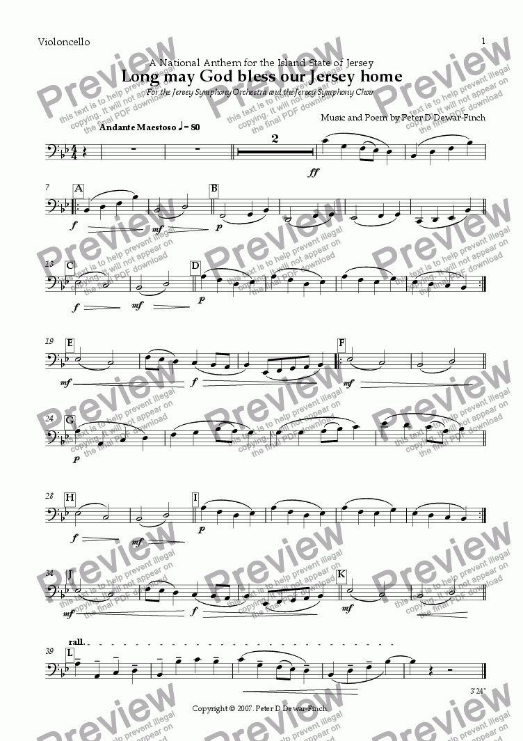 page one of the Violoncello part from An Anthem for Jersey