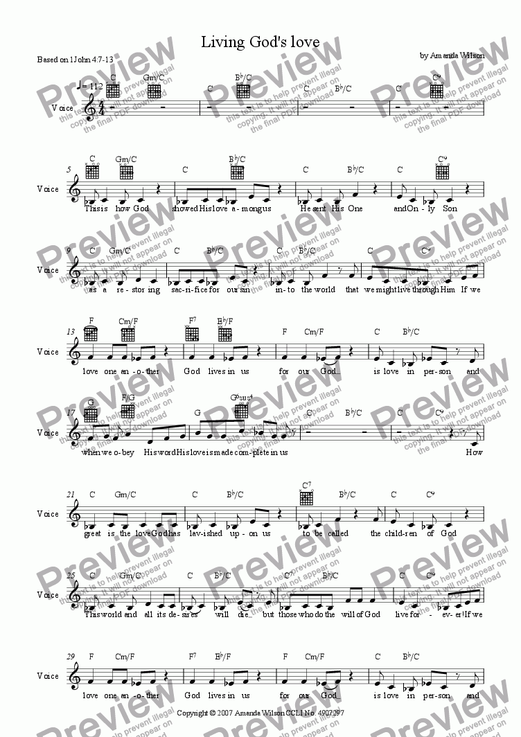 page one of the vocal (lead sheet) part from Living God's love