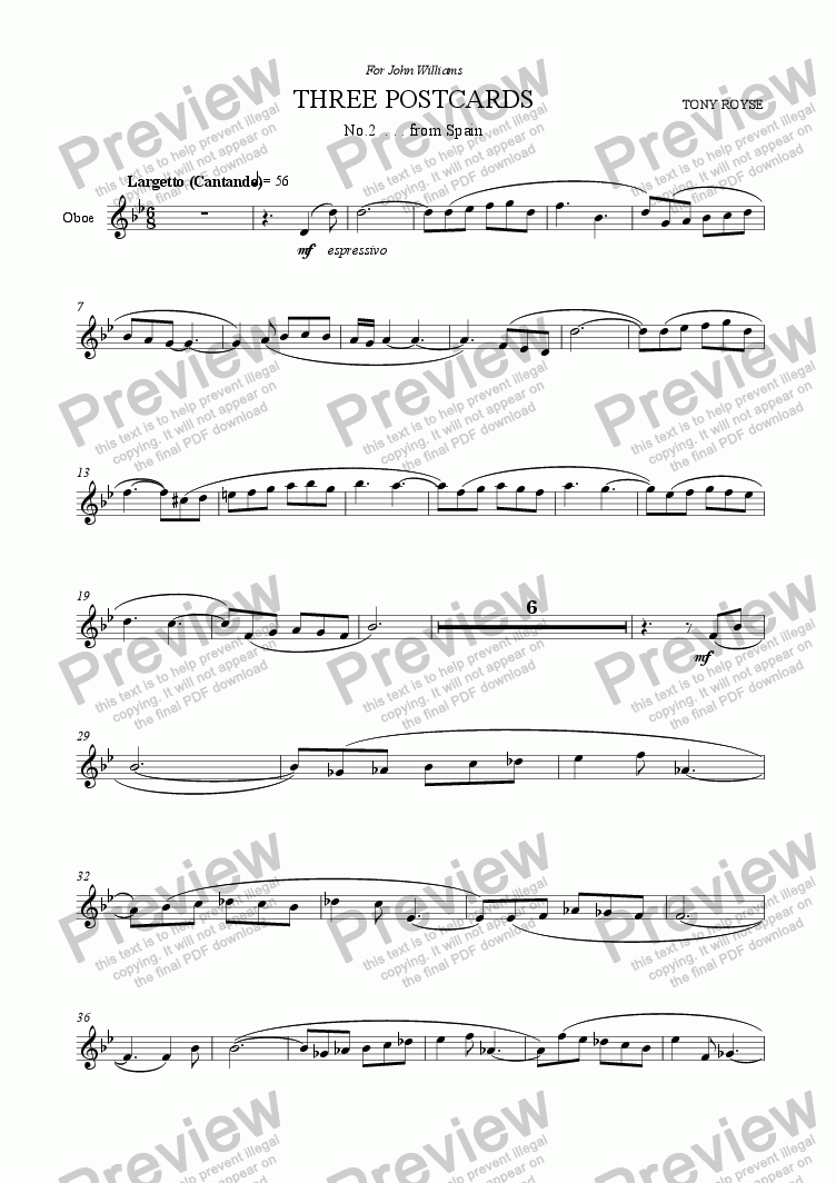 page one of the Oboe part from Three Postcards (2) for Oboe and Piano