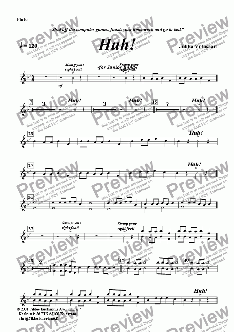page one of the Flute part from Huh! (youth band)