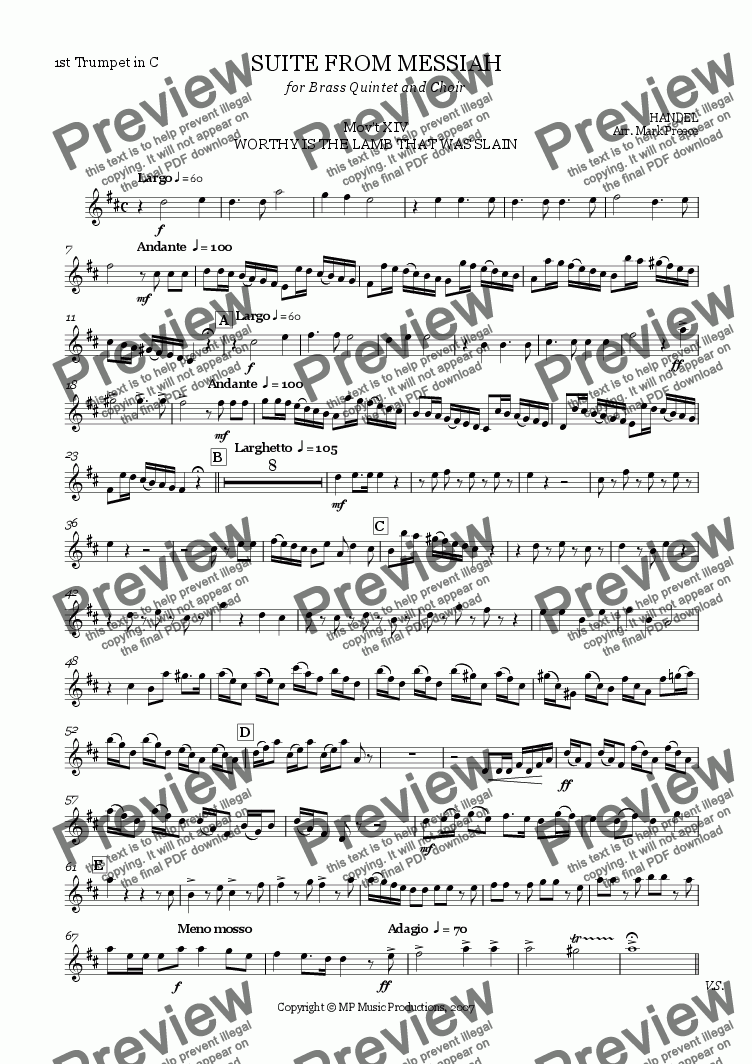 page one of the Trumpet 1 in C part from Handel Messiah Suite (xiv) - Worthy Is The Lamb That Was Slain