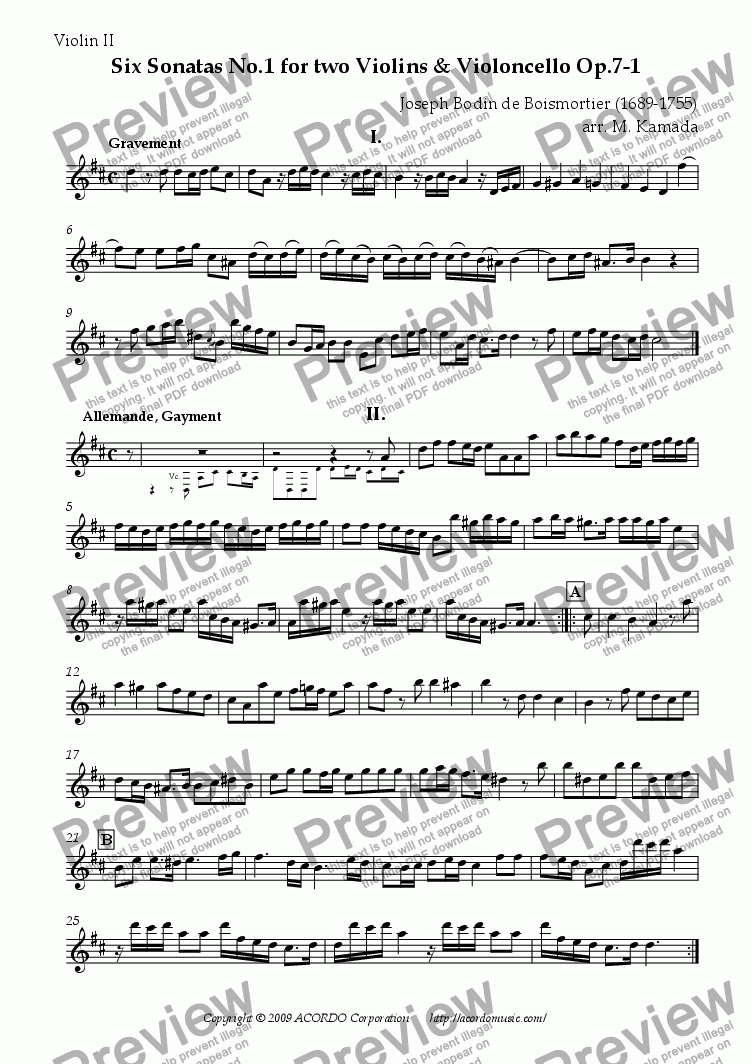 page one of the Violin II part from Six Sonatas No.1 for two Violins & Violoncello Op.7-1