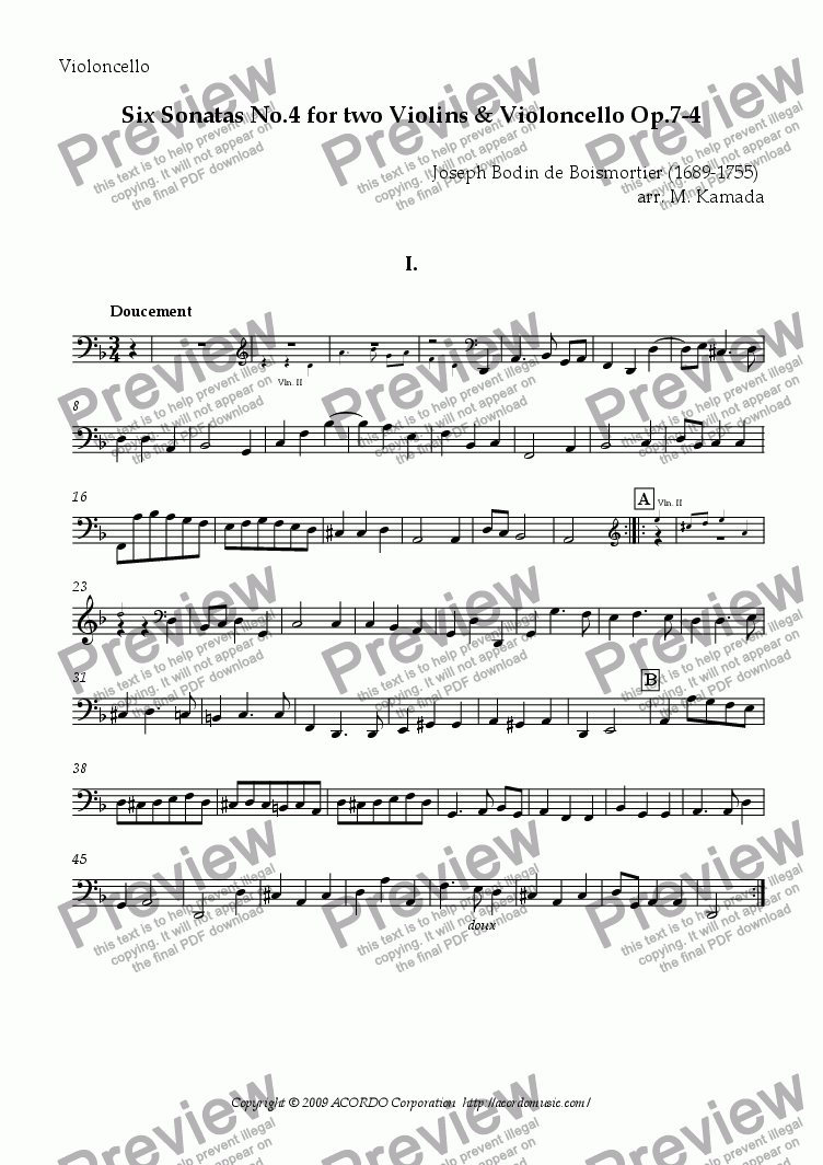 page one of the Violoncello part from Six Sonatas No.4 for two Violins & Cello Op.7-4
