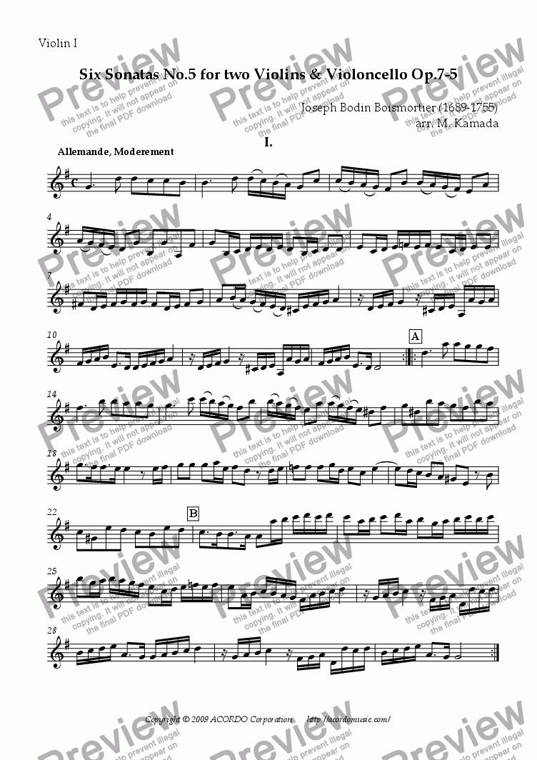 page one of the Violin I part from Six Sonatas No.5 for two Violins & Cello Op.7-5