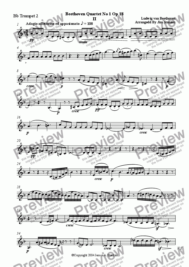 page one of the Bb Trumpet 2 part from Beethoven - Quartet No 1 Op 18 - Mvt 2 for Brass Quintet