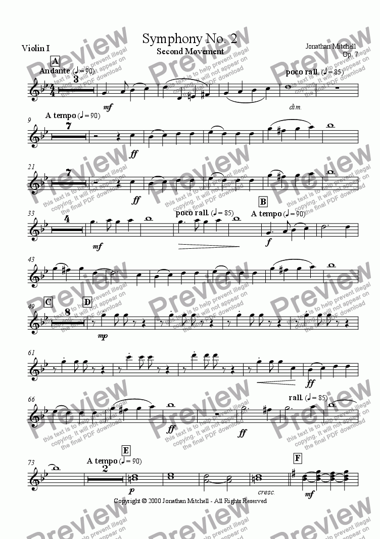 page one of the Violin I part from Symphony No.2 - Second Movement. Op 7