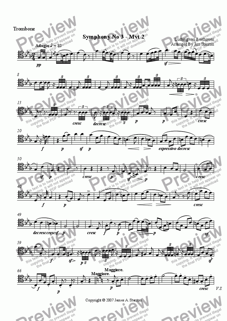 page one of the Trombone part from Beethoven - Symphony No 3 - Mvt 2 for Brass Quintet