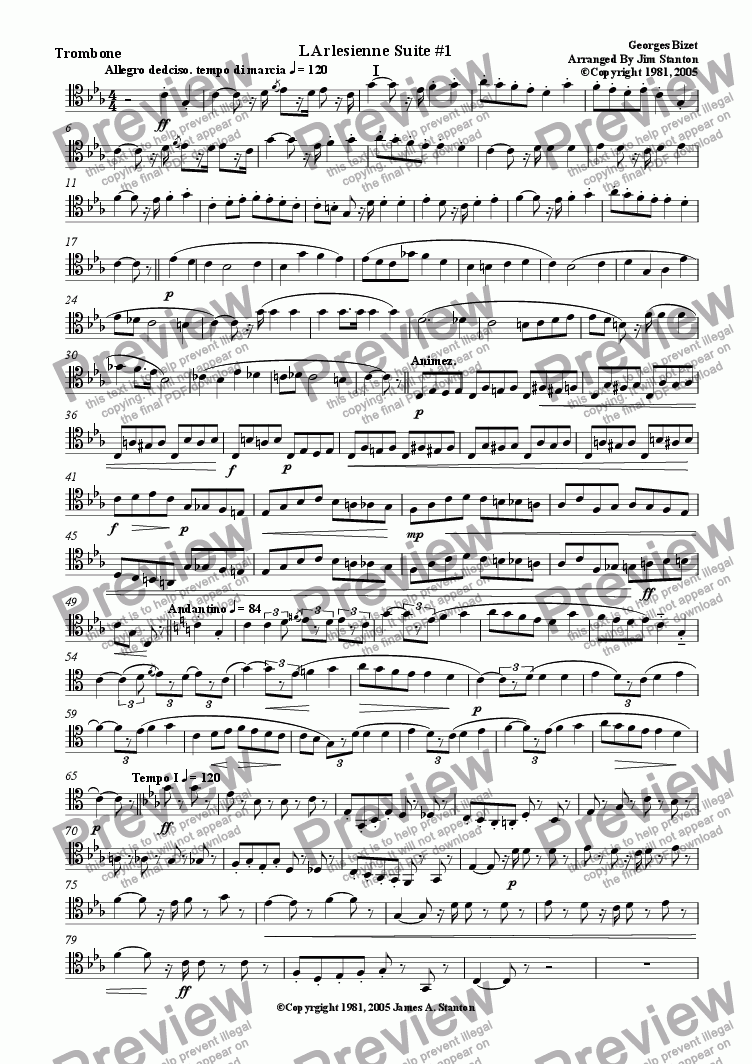 page one of the Trombone (Tenor Clef) part from Bizet - L'Arlesienne Suite No 1 - 4 Mvts for Brass Quintet
