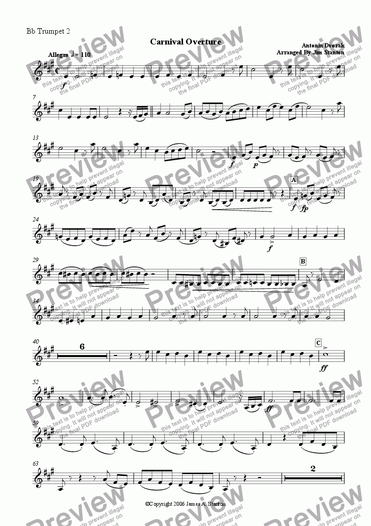 page one of the Bb Trumpet 2 part from Dvorak Carnival Overture for Brass Quintet